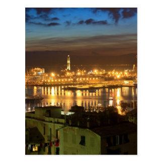 Genova and the port at evening postcard