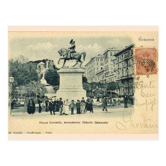 Genova, Piazza Corvetto, Monumento Vittorio Emanue Postcard