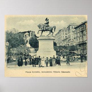 Genova, Piazza Corvetto, Monumento Vittorio Emanue Poster