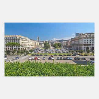 Génova - plaza Della Vittoria Pegatina Rectangular
