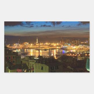Génova y el puerto en la tarde pegatina rectangular