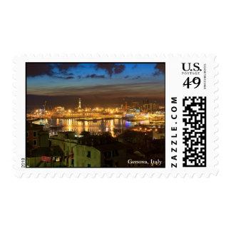 Génova y el puerto en la tarde sellos