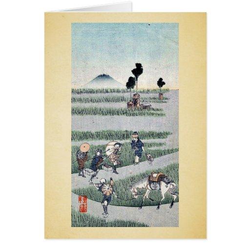 Genre scene in a rice paddy Ukiyoe Card