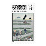 Genre scene in a rice paddy Ukiyoe Postage Stamps