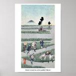 Genre scene in a rice paddy Ukiyoe Print
