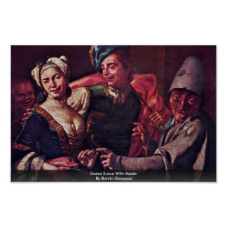 Genre Scene With Masks By Bonito Giuseppe Poster