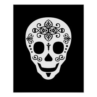 Gent Sugar Skull by Leslie Peppers Poster