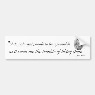 Gente conforme: Jane Austen cotizable Pegatina De Parachoque