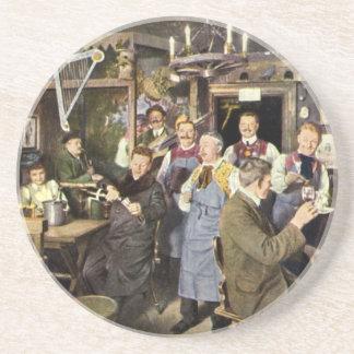 Gente de la barra del restaurante del vintage que posavasos de arenisca