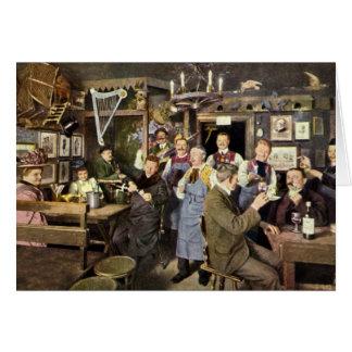 Gente de la barra del restaurante del vintage que tarjeta de felicitación