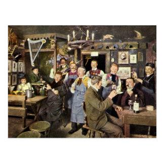 Gente de la barra del restaurante del vintage que postal