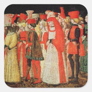 Gente de la corte de la familia de Sforza Calcomania Cuadradas
