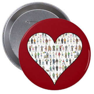 Gente del botón rojo del corazón de los ciudadanos pin redondo de 4 pulgadas