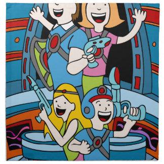 Gente del dibujo animado del fiesta de la familia servilleta imprimida