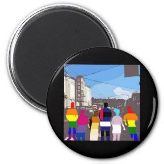 Gente del orgullo de GLBT en el Castro #2 Imán Redondo 5 Cm