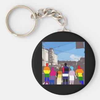 Gente del orgullo de GLBT en el Castro #2 Llavero Redondo Tipo Pin