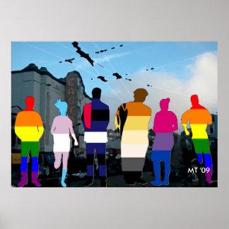 Gente del orgullo de GLBT en la impresión del arte