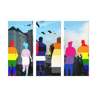 Gente del orgullo en el Castro en lona triple Lona Estirada Galerías