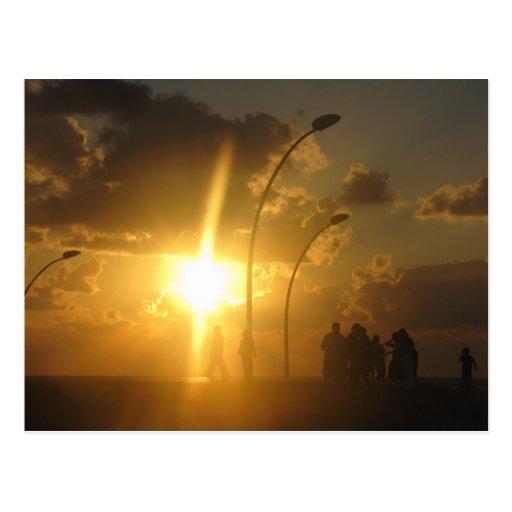Gente en la puesta del sol brillante tarjetas postales