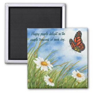 Gente feliz - mariposa de monarca - imán