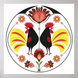 Gente polaca con los gallos decorativos, poster