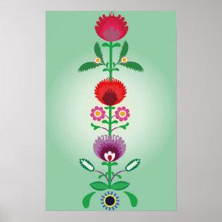 Gente polaca, tira floral decorativa póster