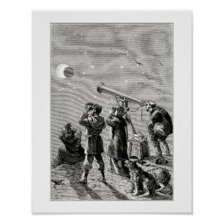 Gente que mira un eclipse solar póster