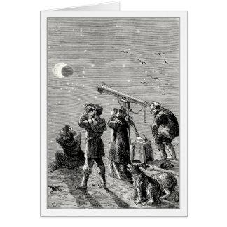 gente que mira un eclipse solar tarjeta de felicitación