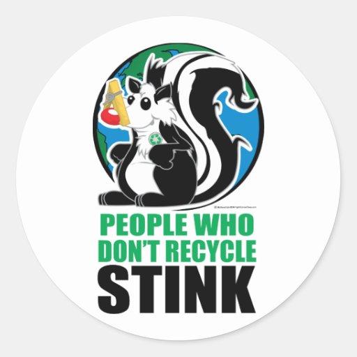 Gente que no recicla hedor etiquetas redondas