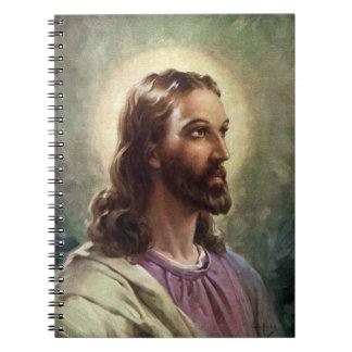 Gente religiosa del vintage retrato del Jesucrist Libreta Espiral