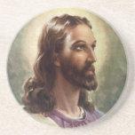 Gente religiosa del vintage, retrato del Jesucrist Posavasos Personalizados