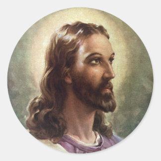 Gente religiosa del vintage, retrato del pegatina redonda