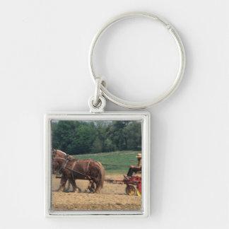 Gente simple del país de Amish en el cultivo con Llavero Cuadrado Plateado