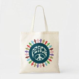 Gente unida en todo el mundo en un símbolo de paz bolsa