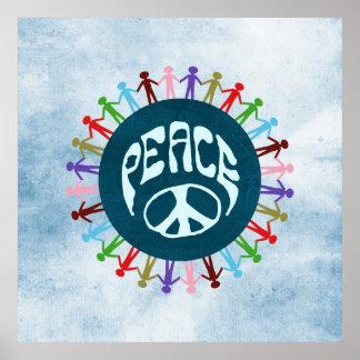 Gente unida en todo el mundo en un símbolo de paz póster