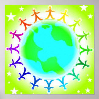 Gente unida encima del globo del mundo impresiones
