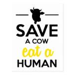 Gente y los mascotas - ahorre una vaca comen a un  tarjetas postales