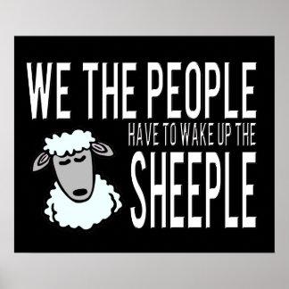 Gente y Sheeple - humor político Posters