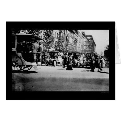 Gente y tráfico en Berlín, Alemania 1913 Tarjeta De Felicitación