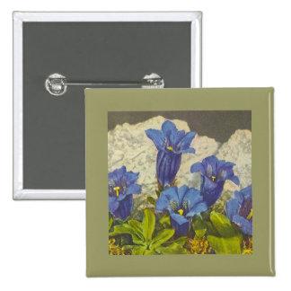 Gentian Flower Pinback Button