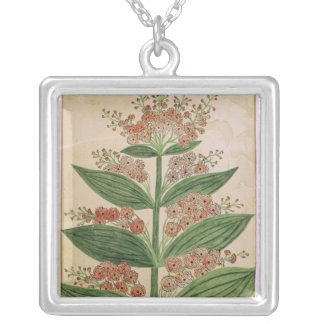 Gentian with imaginary flowers square pendant necklace