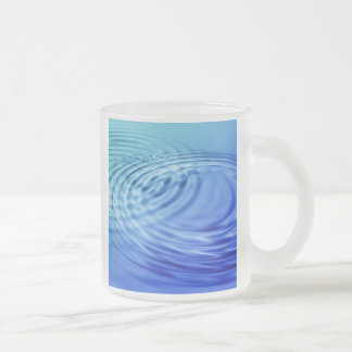 Gentle blue water ripples frosted glass coffee mug