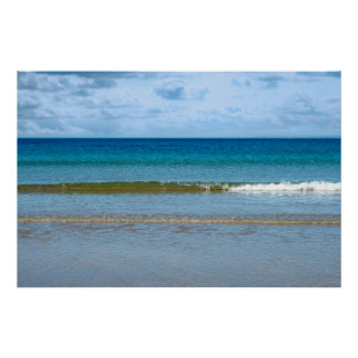 gentle blue waves lashing onto ballybunion beach poster