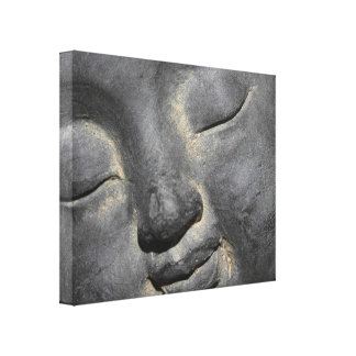 Gentle Buddha Face Stone Sculpture Gallery Wrap Canvas