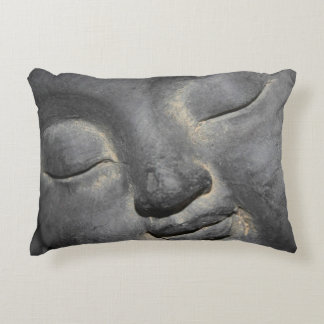 Gentle Buddha Face Stone Sculpture Decorative Pillow