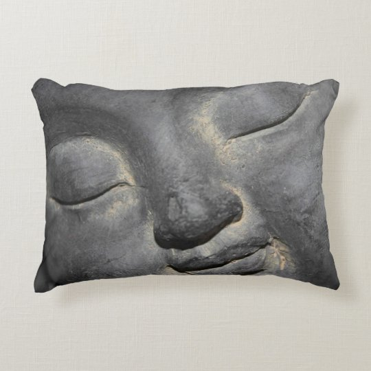 Gentle Buddha Face Stone Sculpture Decorative Pillow Zazzle Fascinating Buddha Decorative Pillows