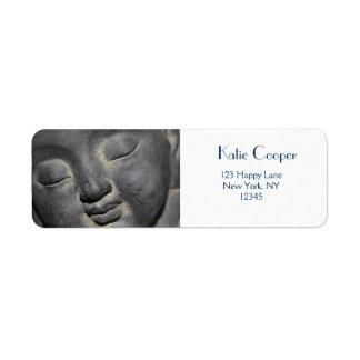 Gentle Buddha Face Stone Sculpture Label