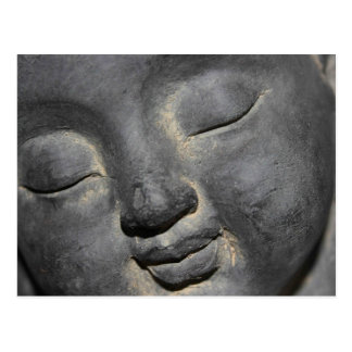 Gentle Buddha Face Stone Sculpture Postcard