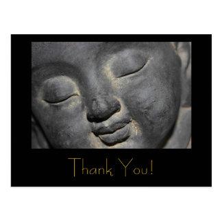Gentle Buddha Face Stone Sculpture Postcard