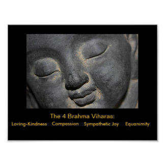 Gentle Buddha Face Stone Sculpture Poster